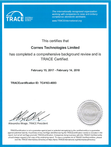 Cornes Technologies is proud to be a member of TRACE International
